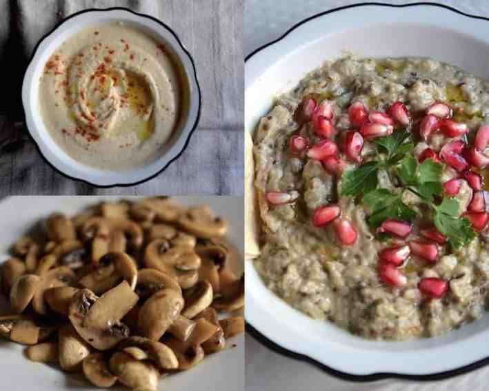 Best 20+ New Year's Menu Ideas | Lunch and Dinner | Vegan. Babaghanoush, hummus, mushrooms. maninio.com