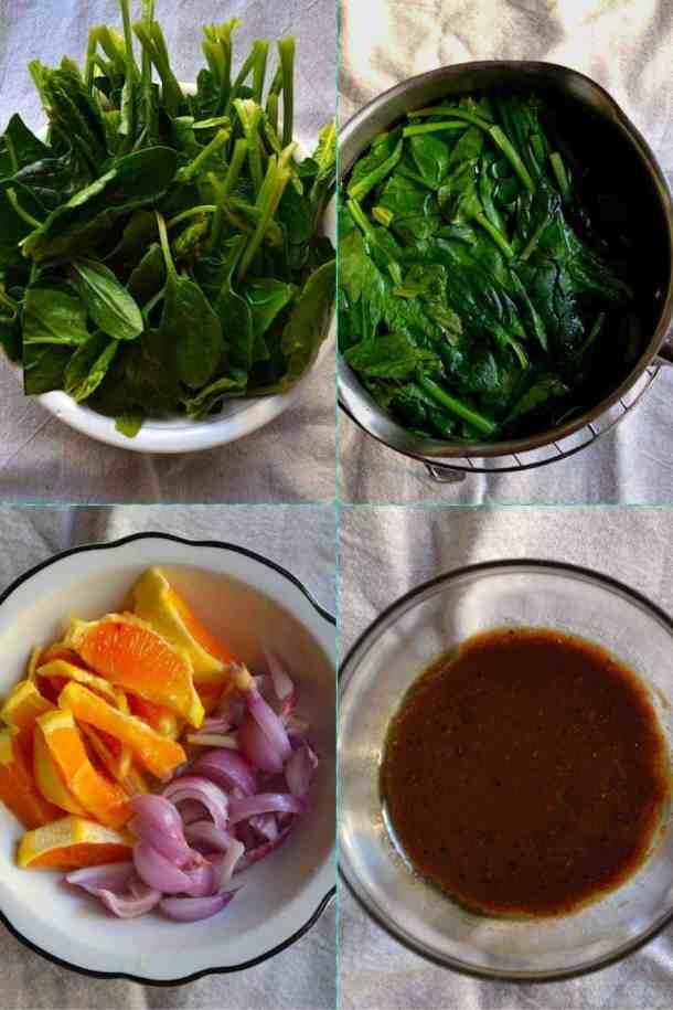 Υλικά για την Σαλάτα με Σπανάκι και Πορτοκάλι   Vegan & Χωρίς Γλουτένη. maninio.com