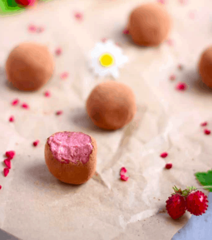 vegan strawberry chocolate truffles. Strengthandsunshine -paleo strawberry coconut thumbprint cookies. vegannie - raw chocolates. Vegan & Sugar Free Valentine's Treats. maninio.com