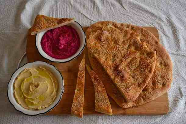 Arabic Hummus, Greek Lagana bread with star anise (Clean Monday) | Vegan