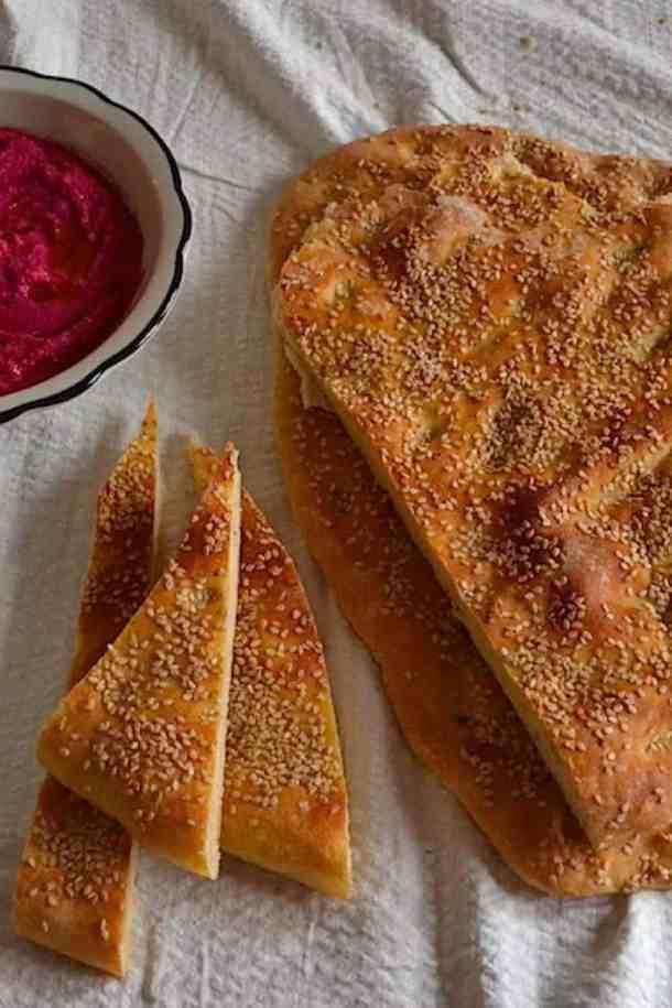 Hummus Greek Lagana bread with Star anise (Clean Monday) | Vegan