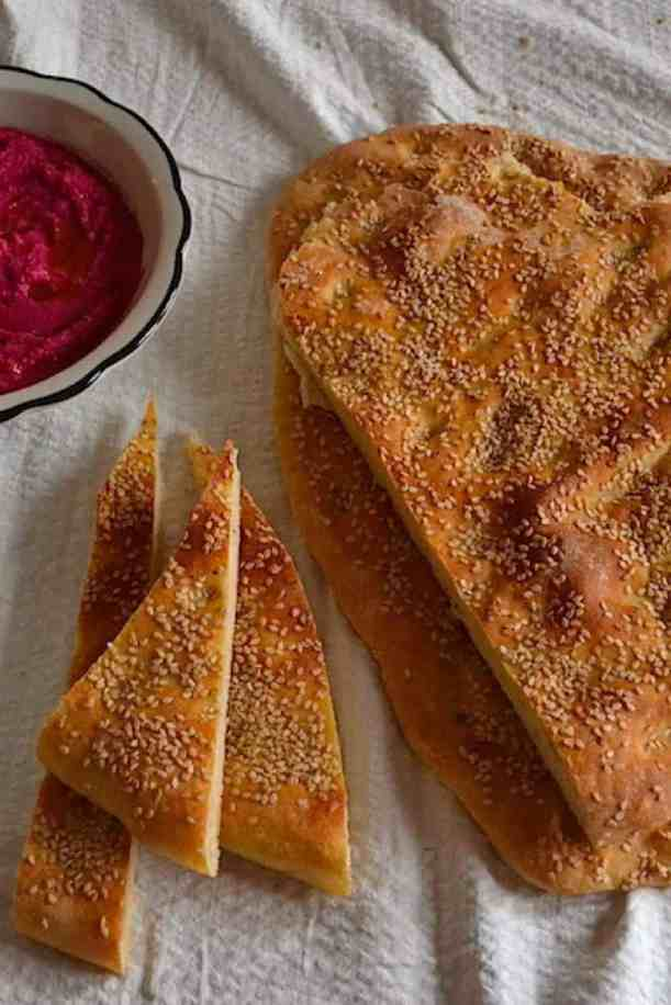 Hummus Greek Lagana bread with Star anise (Clean Monday) | Vegan