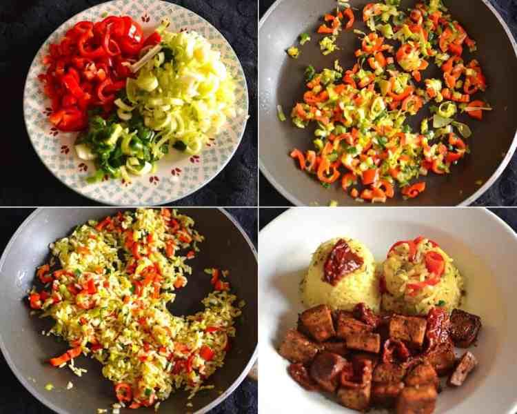 Προετοιμασία λαχανικών. Ψημένο τόφου με ρύζι λαχανικών και βασιλικό. maninio.com