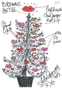 Lulu Guinness Christmas Tree for Brown's Hotel London