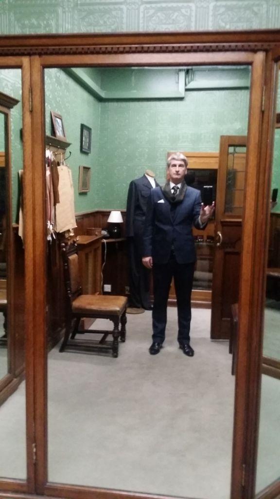 Kingsman changing room in Huntsman Savile Row