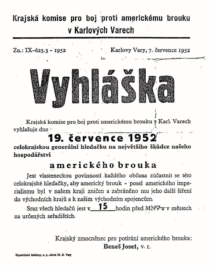 "Vyhláška o boji proti ""americkému brouku"" z r. 1952 ( Zdroj: moderni-dejiny.cz )"