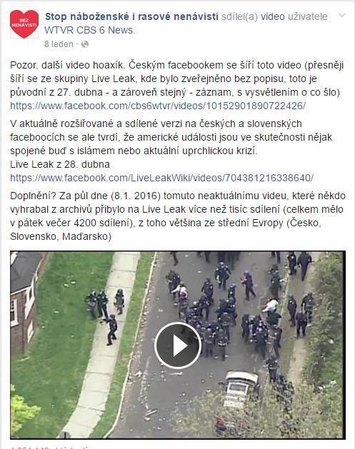 Pozor další video hoaxík. Českým facebookem se... Stop náboženské i rasové nenávisti