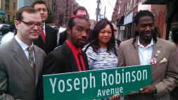 At the naming of Yoseph Robinson Avenue with Councilman Jumaane Williams, and others