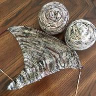 Prairie River shawl being knit by Melissa of Prairie Dye Studio