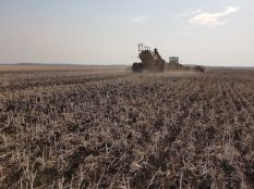Seeding soybeans into no-till canola stubble near Dauphin on May 14, 2021.