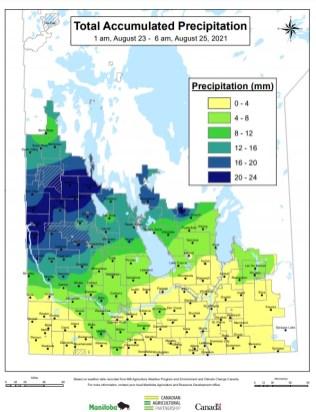 Precipitation from Aug. 23 to 25, 2021.