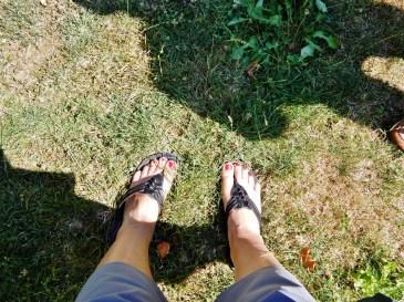 Happy feet on grass.