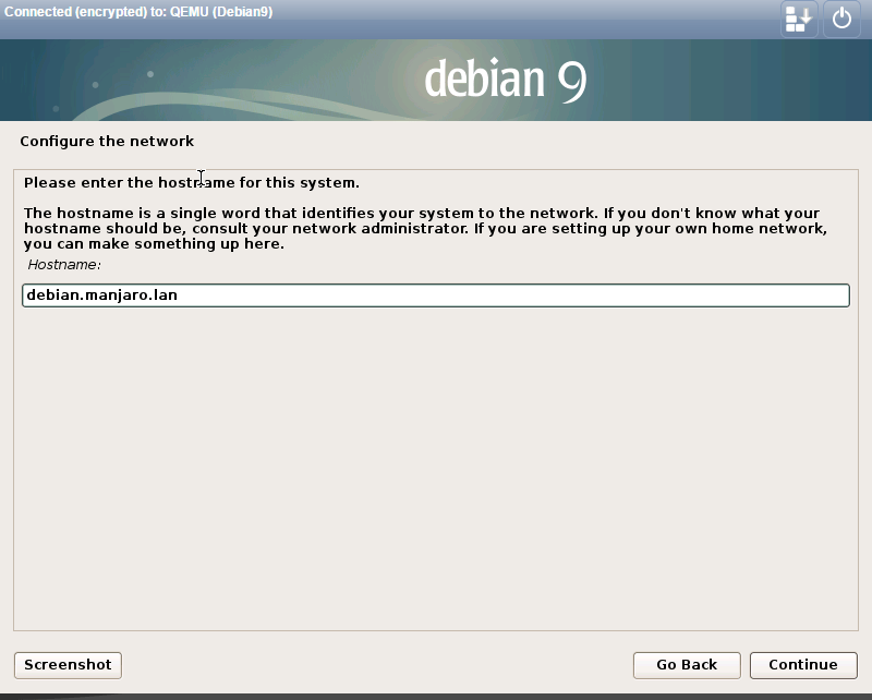 install debian 9.0 set the hostname