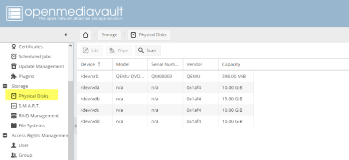 add new hard disk to openmediavault
