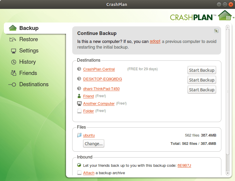 download crashplan backup for linux