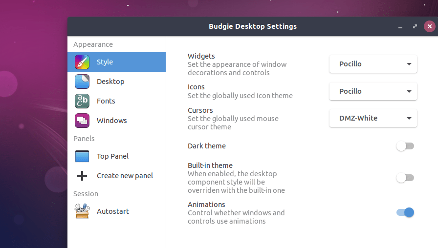 budgie desktop settings.png