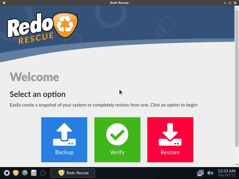 redo rescue 4.0 interface