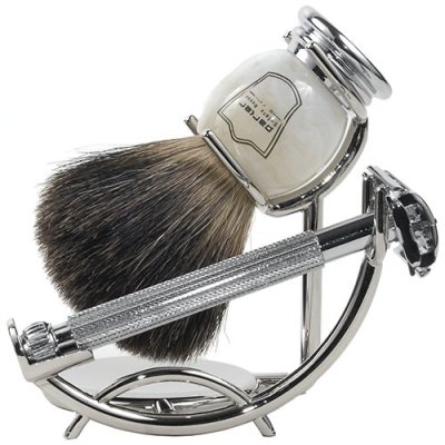 Premium shaving set with parker safety razor and badger hair shaving brush