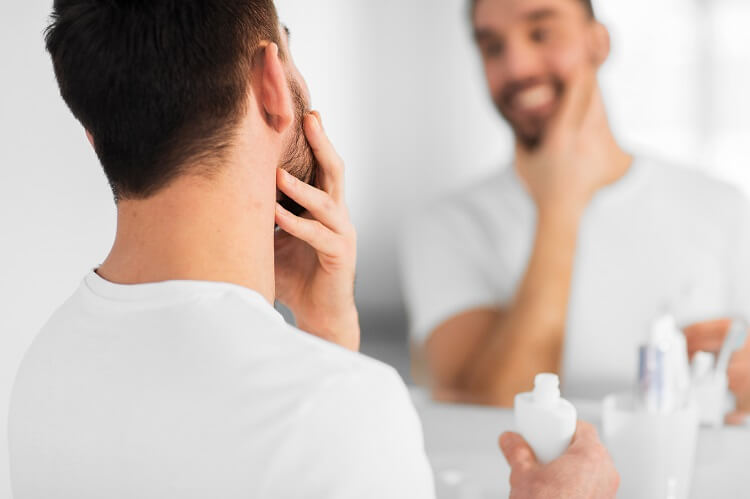 Apply aftershave to reduce irritation and prevent razor burn