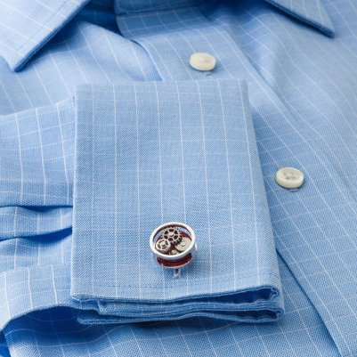 Tateossian Men's RedSilver Gear Cufflinks