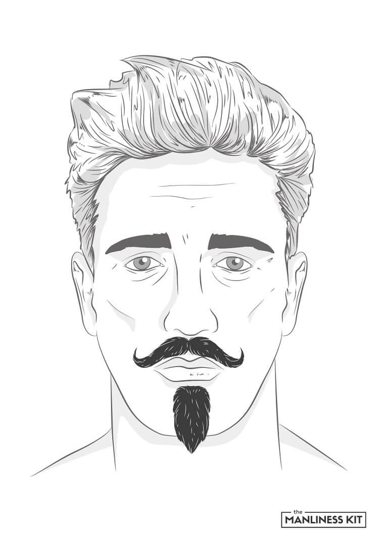 handlebar and chin puff beard style