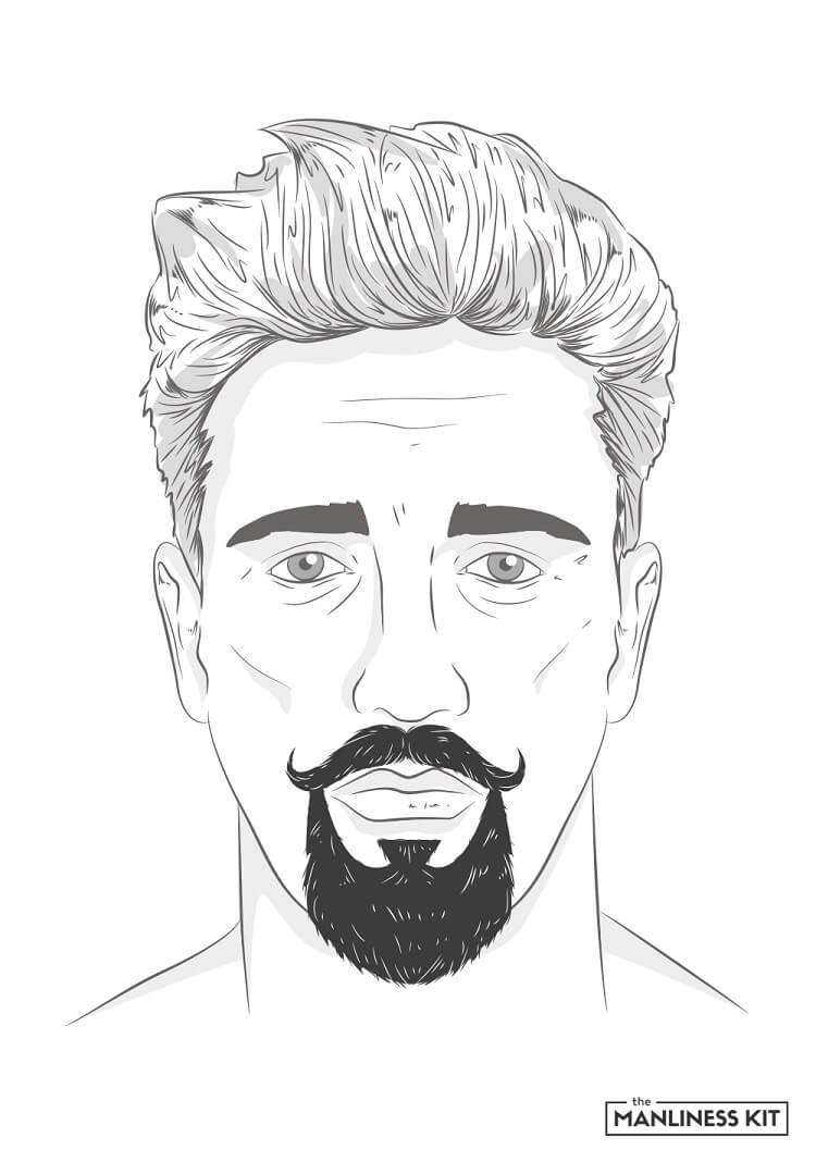 handlebar and goatee