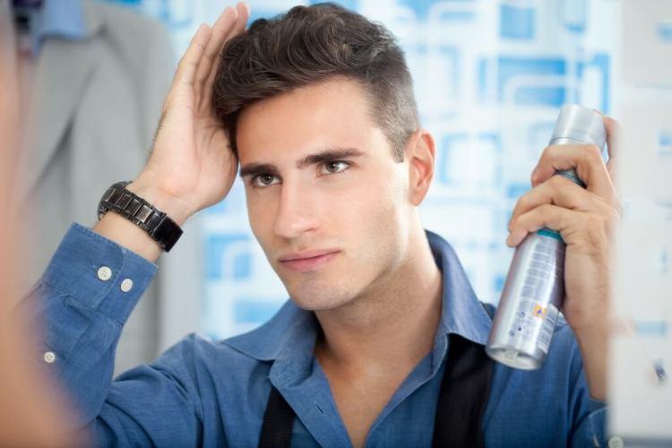 Applying hair spray step by step