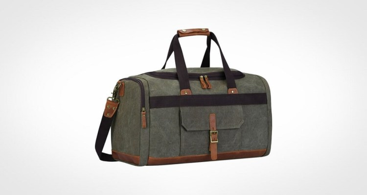 S-ZONE Vintage Canvas Geniune Leather Gym Bag for men