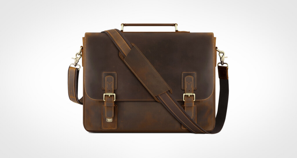 Kattee Men's Leather Satchel Briefcase