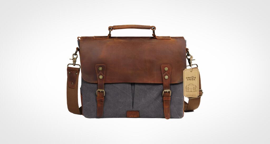 Lifewit 14-15.6 inch Laptop Messenger Bag Vintage Genuine Leather Canvas