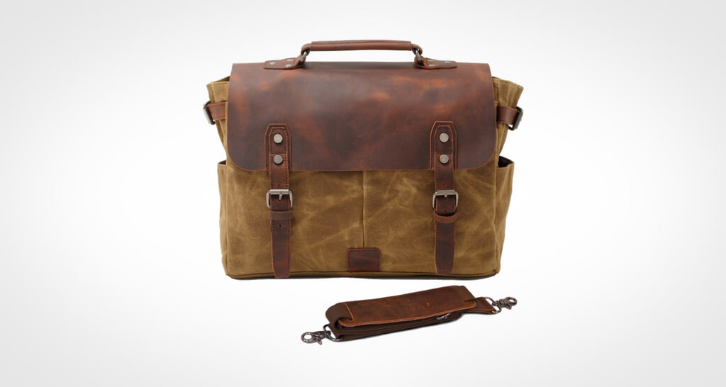 SUVOM Genuine Leather Laptop Canvas Messenger Bag
