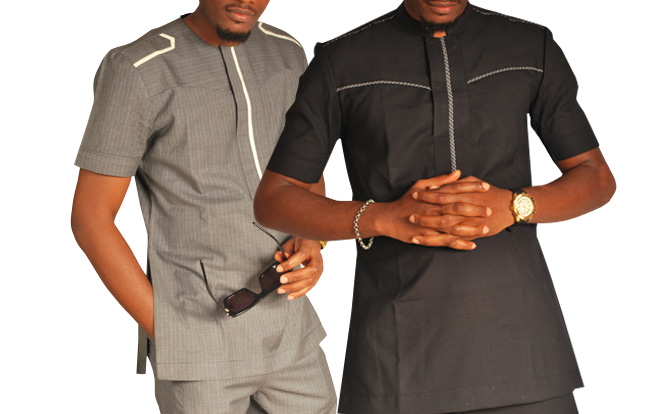 grey and black senator native wear outfit