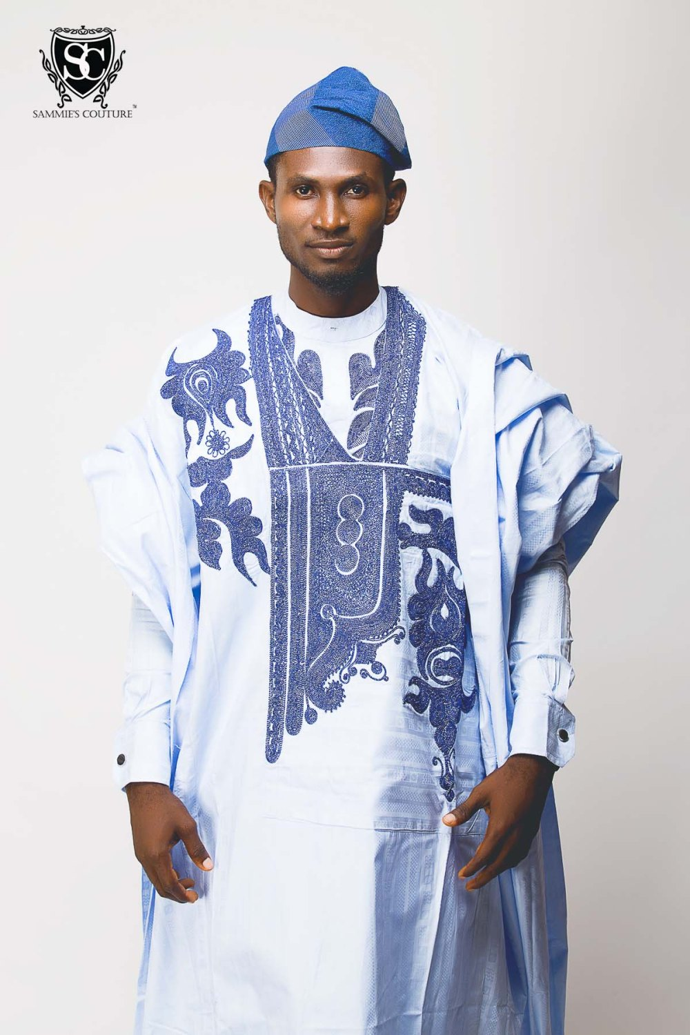 blue tradtitional native wear- light blue and dark blue