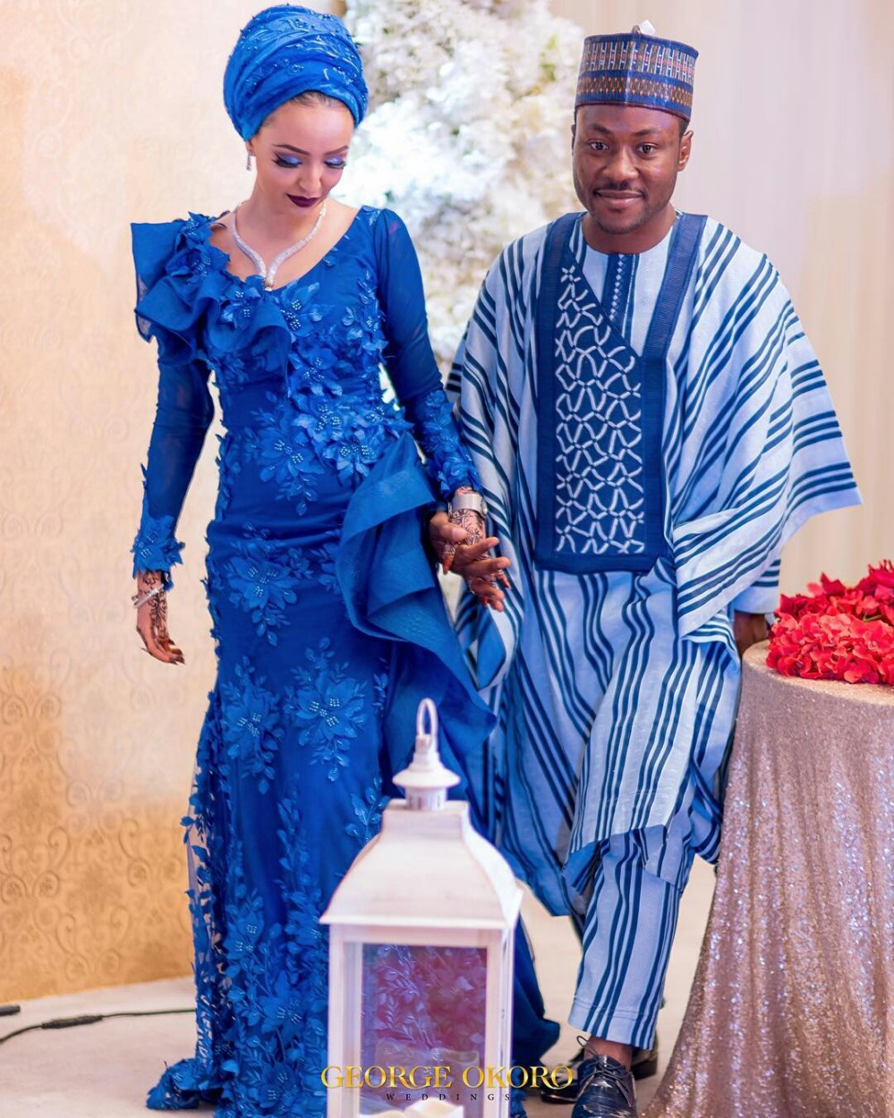 Hausa groom in blue striped outfit
