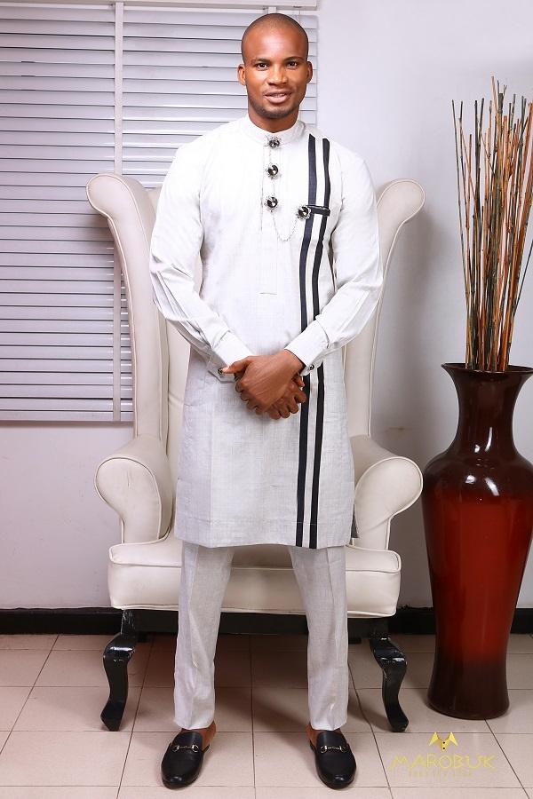 Model Wearing Clothes designed by Chidiebere Ekwunife - Nigerian Men Traditional Wears