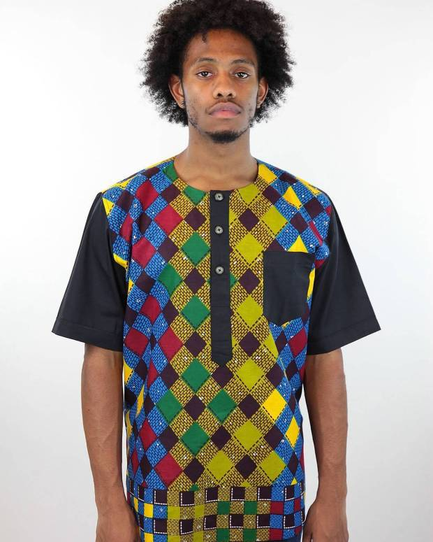 male ankara geometric design shirt