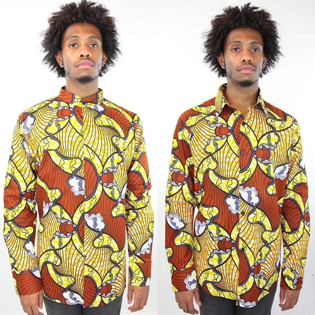 ankara shirts with yellow undertones