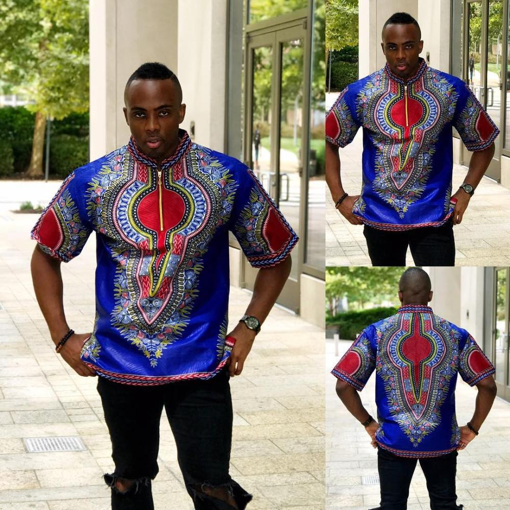 mens dashiki top with black trousers