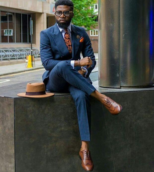 8e606e28d50 Summer Male Navy Blue Suit Brown Shoes Style Ideas With No Tie And Light  Blue Dress. navy blue suit