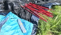 This image shows the stakes and poles of the Orion backpacker tent.