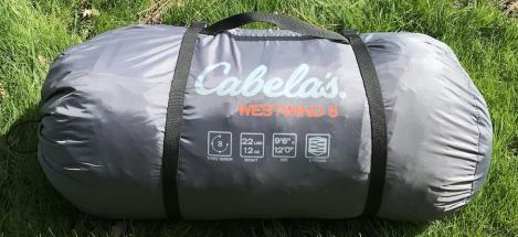 This image shows the packed Cabela's West Wind Dome Tent.
