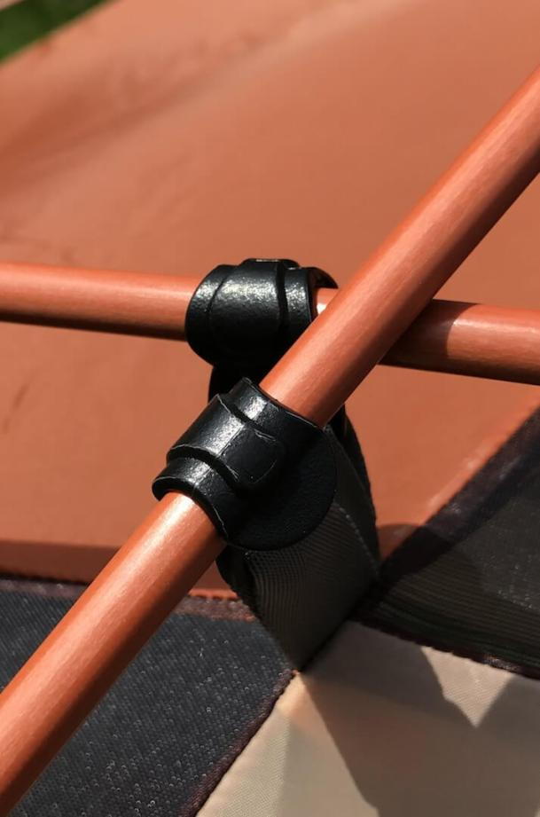 This image shows the cross pole connection on the west wind dome tent.