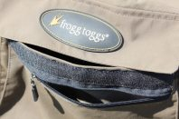 This image shows the Frogg Toggs Hellbenders waders chest pocket.