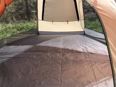 This image shows the bathtub-style floor of the Cabela's West Wind Dome Tent.