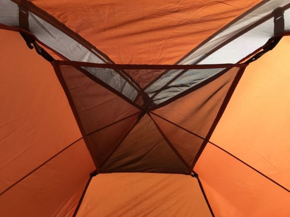 This image shows the West Wind Dome Tent gear loft.