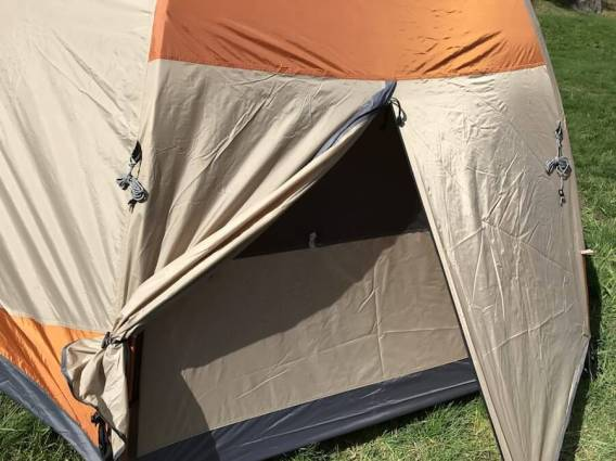 This Cabela's West Wind Dome Tent Review photo shows the rear vestibule.