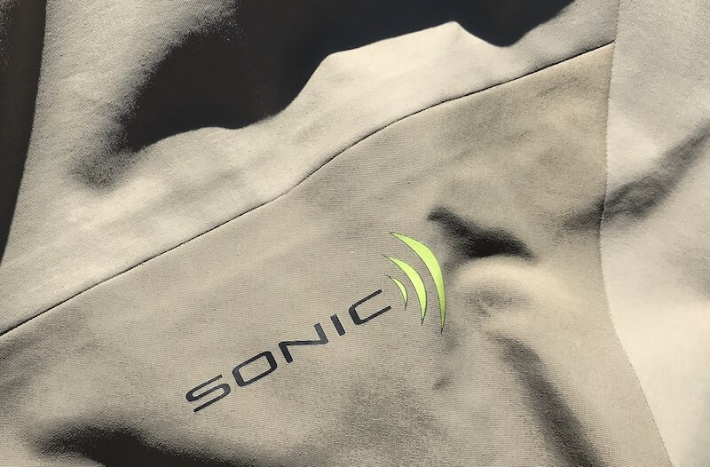 This image shows the outer seam on the Orvis Silver Sonic Convertible-Top Waders.