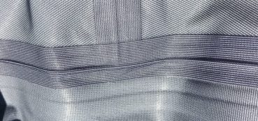 This photo shows the inside seams on the Orvis Silver Sonic Convertible-Top Waders.
