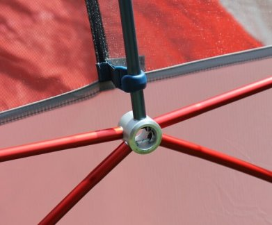 This photo shows a close-up of the hub on the REI Quarter Dome 2 Tent.