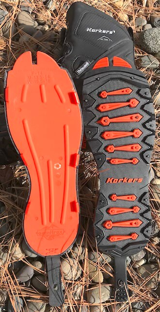 This photo shows the Korkers OmniTrax 3.0 Interchangeable Soles.